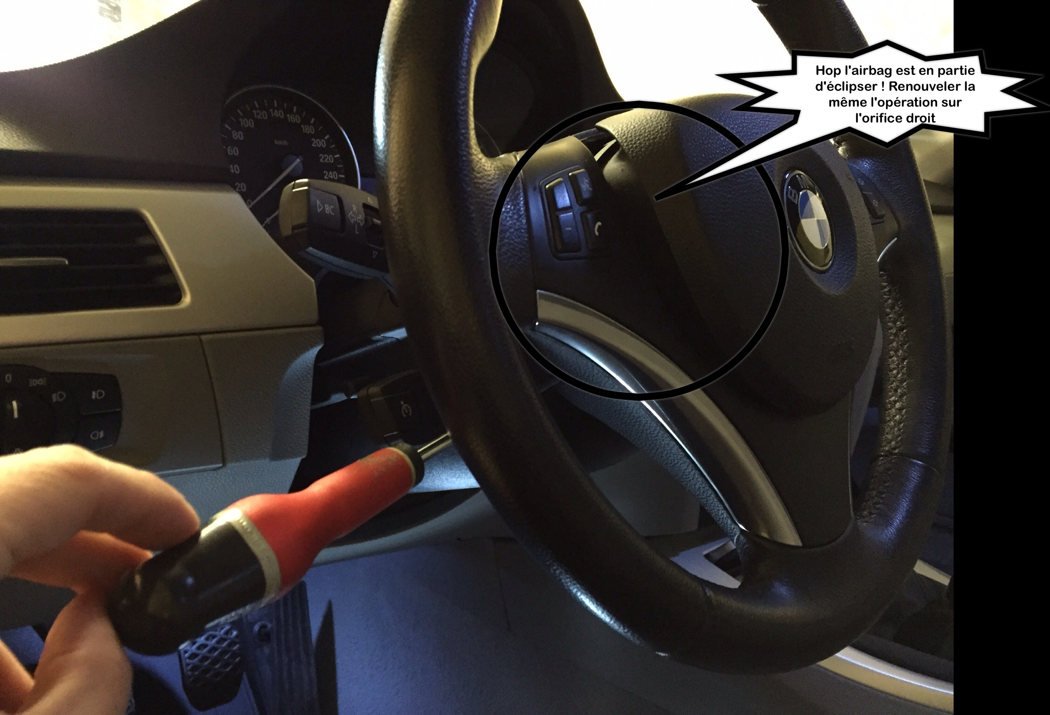 tuto montage insert volant sans d brancher la batterie bmw. Black Bedroom Furniture Sets. Home Design Ideas